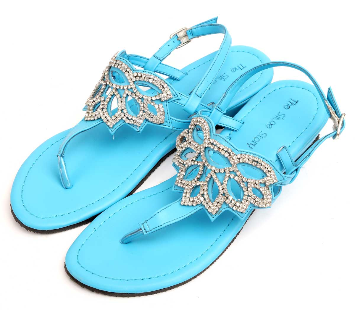 140e9a07b Turquoise   Silver Jeweled Sandals -